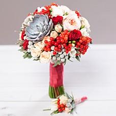 Букет  свадебный Рубиновый